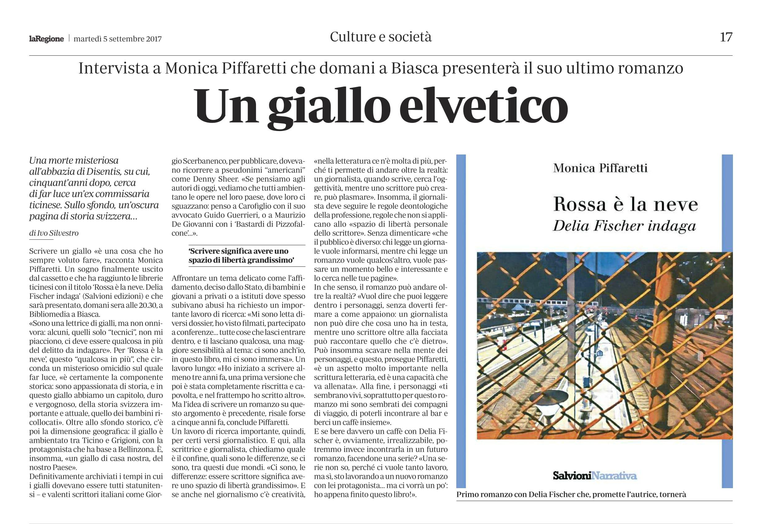 Un giallo elvetico, intervista su LaRegione
